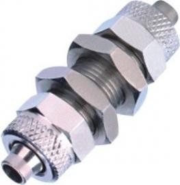 气动穿板接头 直通螺母锁紧式隔板安装接头