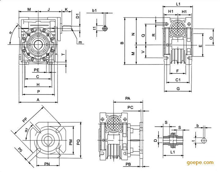 NRV系列蜗轮减速机直结型蜗轮减速机高精密联齿轮cad