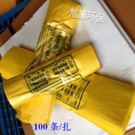 供应医用垃圾袋 全新料医疗废物包装袋 76*90 1.5丝手提式医疗垃�