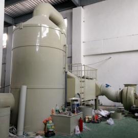 东莞优洁PP洗涤塔/废气处理/酸雾洗涤塔工程安装现场