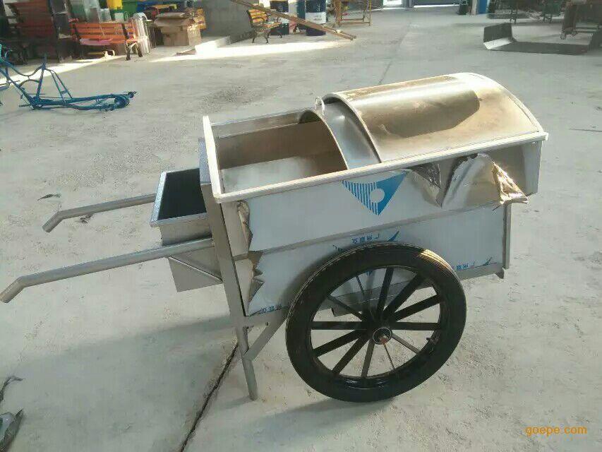 环畅设计生产不锈钢垃圾车 手推垃圾车 铁皮保洁车