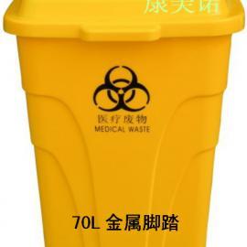 湖北厂家直销医疗脚踏废物桶 70L金属脚踏优质垃圾桶