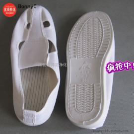 防静电鞋 四孔帆布 蓝色白色无尘鞋 PVC底工作鞋