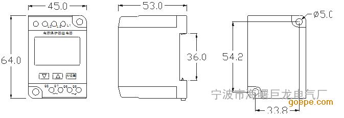电压保护器外形及安装尺寸图