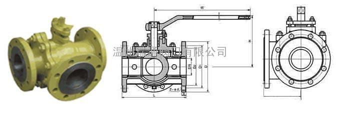 铸钢三通球阀有T型和L型。三通球阀T型能使三条正交的管道相互联通和切断第三条通道,起分流、合流作用。三通球阀L型只能连接相互正交的两条管道,不能同时保持第三条管道的相互连通,只起分配作用。 【铸钢三通球阀:产品介绍】: Q44F、Q45F法兰三通球阀是一种三通道的回转型球阀,阀芯有L型和T型,可以满足不同的生产工艺要求。可以根据需要,任何一个管道都可以作为入口或出口。L型阀是对三条管道中的两条管道进行切除,T型阀实现把三条连通管道进行合流与分流。 【铸钢三通球阀:工作原理】: Q44F、Q45F法兰三通球