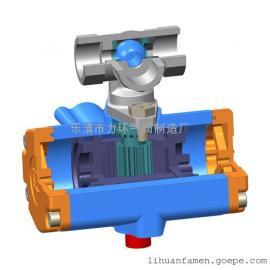 不锈钢304一片式双作用气动球阀1PC-10 三通L型