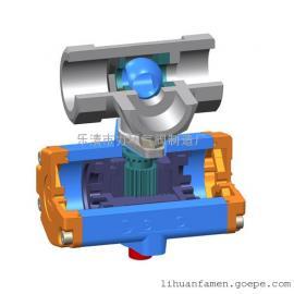 不锈钢304一片式三通L型双作用气动球阀1PC-20