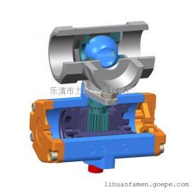 不锈钢304一片式三通L型双作用气动球阀1PC-25