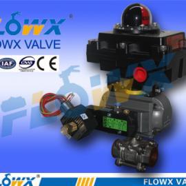 气动三片式螺纹球阀配电磁阀、限位开关、三联件