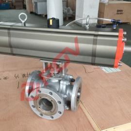 气动三通分流合流阀门,实现3个位置流向 T型结构