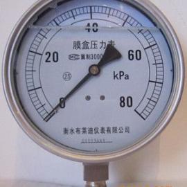 全不锈钢膜盒耐震压力表80Kpa