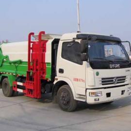环卫处推荐使用东风多利卡8方压缩式对接垃圾车带挂桶垃圾车