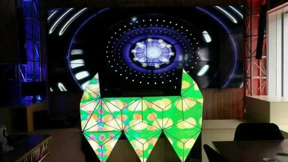 酒吧舞台dj异形全彩led显示屏 定制造型p5全彩led显示