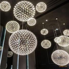宴会厅吊灯厂家批发大堂大厅中空创意LED烟火花星空圆球吊灯
