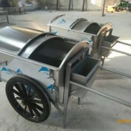环畅不锈钢手推垃圾车 冲孔果皮箱 金属垃圾箱专业生产厂家