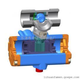 浙江不锈钢304一片式双作用三通L型气动(电动)球阀1PC-15