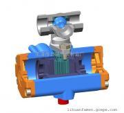 浙江不锈钢304一片式双作用三通L型气动(电动)球阀1PC-10