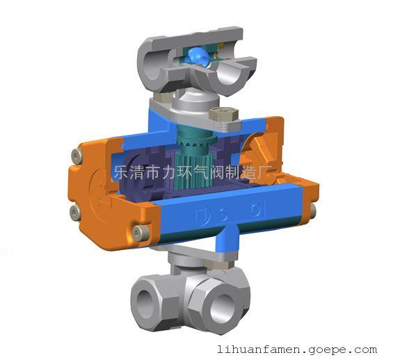 浙江不锈钢304一片式双作用三通L型气动(电动)球阀1PC-6