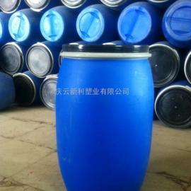 大口125升塑料桶,带铁箍125L塑料桶蓝色化工桶自产自销