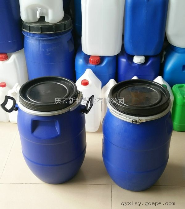30升包箍塑料桶,30L法兰塑料桶,30公斤兰色化工桶