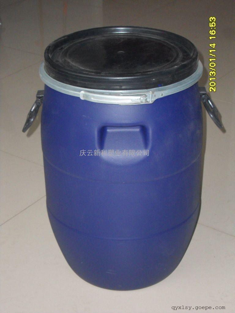 庆云新利50升法兰桶,50L化工桶,50公斤包箍塑料桶