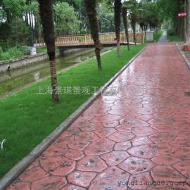 株洲彩色混凝土透水地坪|芦淞景观压模地坪|荷塘艺术压花地坪