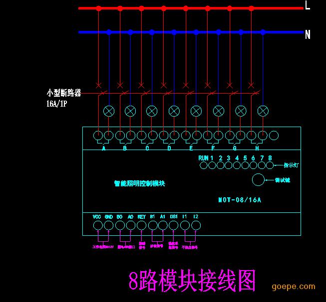 1、输出控制常开触点AC250V/16A(注:负载接线示意图) 2、运行和通信状态指示。 3、手动控制开关,现场实验按钮。 4、工作电源:V ,V-:DC12V;VCC,GND:DC12V/ 2A;电源和智能照明模块对应V 连接VCC,V-连接GND,B0,A0,RS-485通信接口,主要与后台总线连接,智能照明控制模块BO,A0之间对应手拉手方式连接,接线图上未标明的在对应模块上标示有,KEY为开关量连接型号,B1,A1为抄表连接型号,DS1为温度采集连接型号,I1,I2根据现场编程设定 5、扩展接口