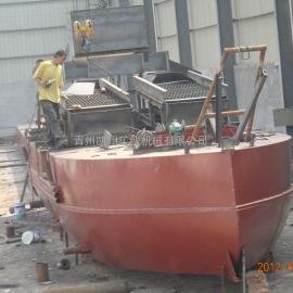 淘金船、抽沙淘金船、淘金设备、淘金机械、鼓动溜槽