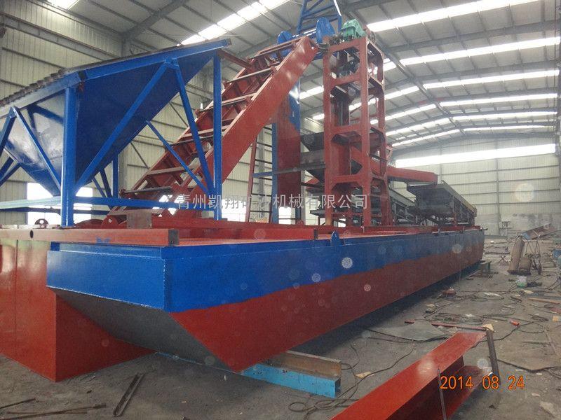 挖沙淘金船、淘金船、河道淘金设备、出口朝鲜淘金船