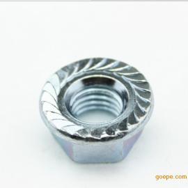 厂家直销304不锈钢六角法兰面螺母 花齿防滑防松锁紧螺帽