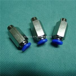 铜塑气管直通接头螺纹直通自封式快插接头PC8-02接头