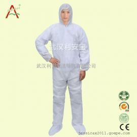 洁净室一次性普通防护服,帽衣裤袜套全连体服