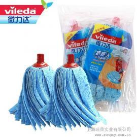 微力达蓝色拖把头替换装加厚加长无纺布蓝拖把头插口水拖头