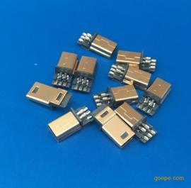 MINI镀金5P公头焊线式 迷你USB公头短体180°焊线