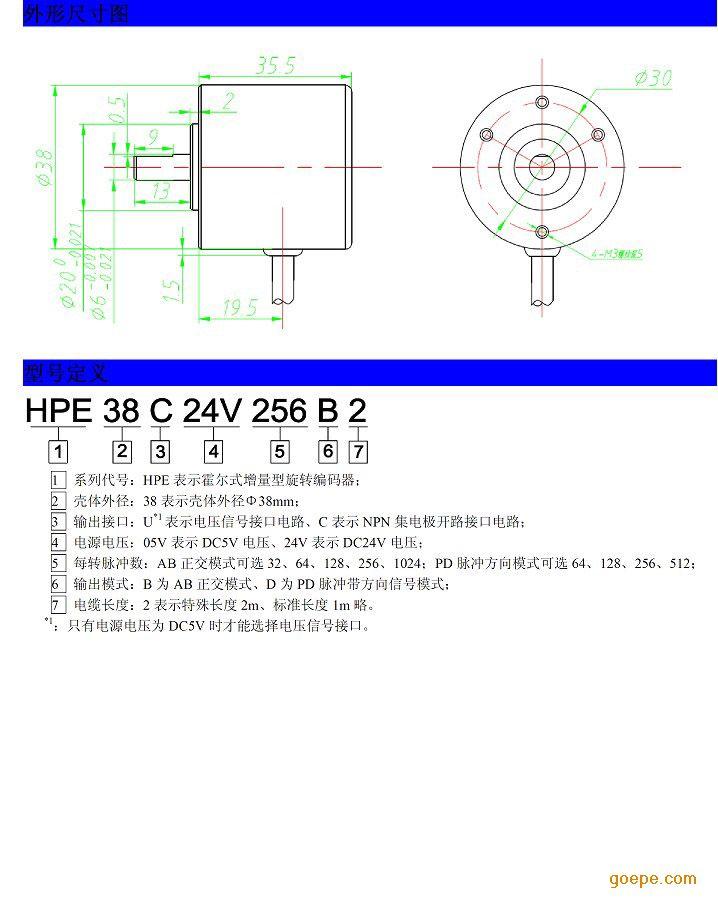 大连三斯hpe系列增量型霍尔旋转编码器 32-1024脉冲