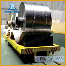 双向轨道60吨轨道平板车运输铝卷含挡卷器电动轨道平车