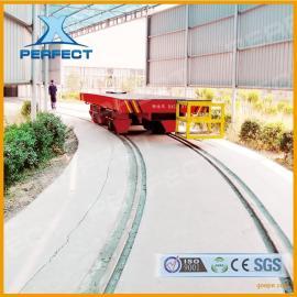蓄电池供电直行轨道弧形转弯车机场电动平板车