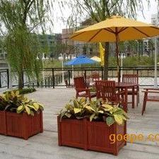 室外木质花架,广场防腐木花槽,商业街组合花盆订制