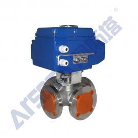 不锈钢电动四通球阀 四通电动球阀 电动换向球阀 Q946F