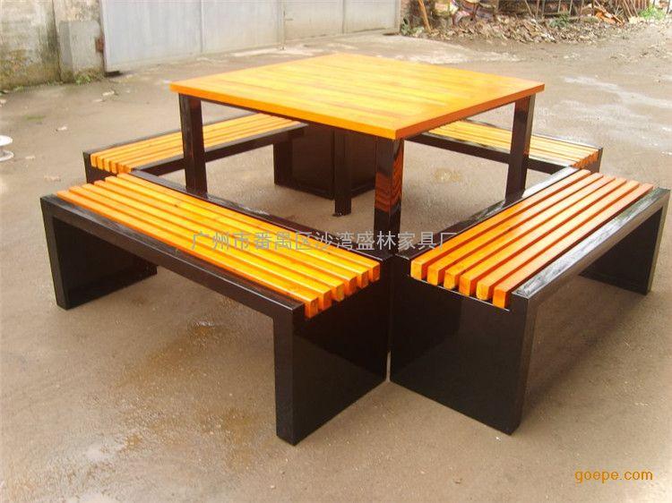 广场防腐木桌椅,园林实木座椅,室外连体桌椅