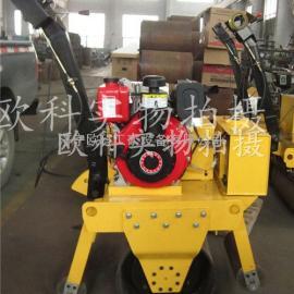 手扶式单轮混凝土压路机 柴油路面压实机 单钢轮振动压路机