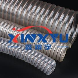 聚氨脂PUR透明钢丝螺旋增强软管,耐磨工业吸尘软管