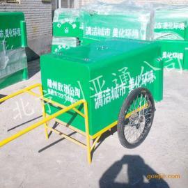 厂家供应0.7立方玻璃钢手推垃圾车、三轮保洁车北京直销