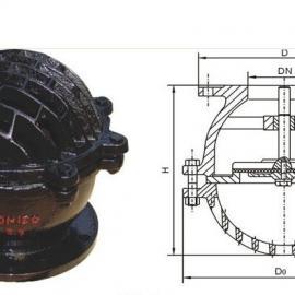 铸铁法兰底阀H42X-6/10 水泵入口底阀 滤水阀井底阀