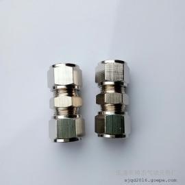 精品全铜镀镍卡套式直通双头硬管直通气动终端接头