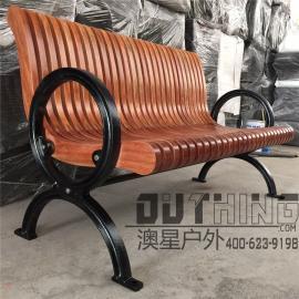 澳星户外新款铸铁实木公园椅别墅景区菠萝格园林休闲椅4012