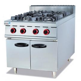 杰冠GH-987燃气四头煲仔炉连柜座 立式燃气煲仔炉