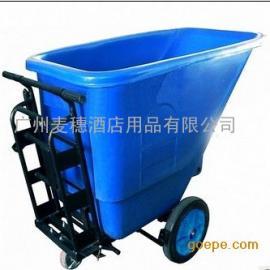 450L废物清运倾卸斗车手推式塑料垃圾桶街道保洁车