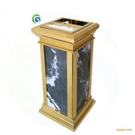 酒店宾馆会所靠墙垃圾桶 美观大气靠墙坐地电梯烟灰缸 不锈钢大理