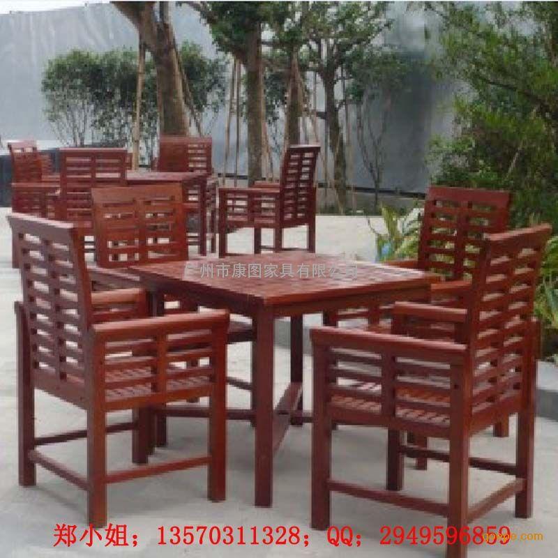 康图木质休闲防腐桌椅-户外休闲桌椅-一体式桌椅